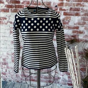 Anthropologie Sparrow Stripes & Dots Sweater